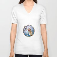princess mononoke V-neck T-shirts featuring Princess Mononoke by Jena Sinclair