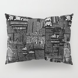 Black And White Collage Of Grunge Newspaper Fragments Pillow Sham