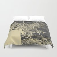 san diego Duvet Covers featuring San Diego Map by Map Map Maps