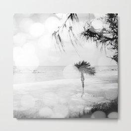 Black and White Tropical Beach Metal Print