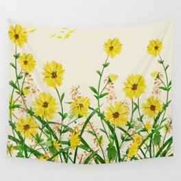 Yellow Wildflowers Wall Tapestry
