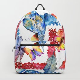 Abstract pink blue watercolor butterfly boho floral pattern Backpack