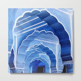 Amber Fort Arches Blue Mood Metal Print