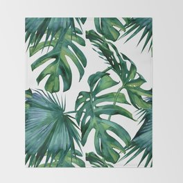 Classic Palm Leaves Tropical Jungle Green Throw Blanket