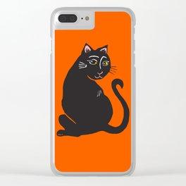 Black Cat with Orange Clear iPhone Case