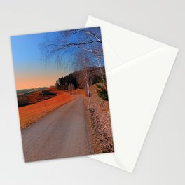 Country road into a beautiful sunset at Auberg | landscape photography Stationery Cards