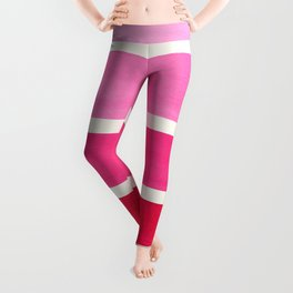 Magenta Minimalist Mid Century Staggered Stripes Rothko Color Block Geometric Art Leggings