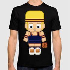 Basketball Burgundy, Navy Blue and Gold Black Mens Fitted Tee MEDIUM