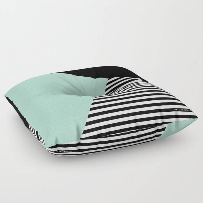 Mint Color Block with Stripes // www.penncilmeinstationery.com Floor Pillow