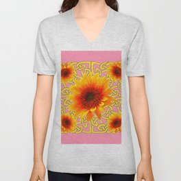Decorator Golden Sunflower Floral Celtic art Unisex V-Neck