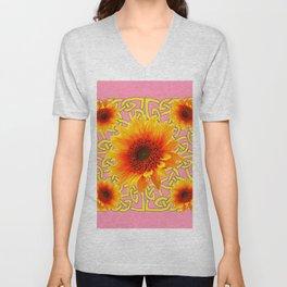 Decorator Golden Sunflower Floral Celtic art Unisex V-Neck