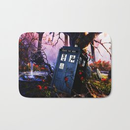 Tardis And Red Flowers Bath Mat
