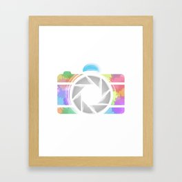 Watercolor Photography camera- Rainbow colored photography lover Framed Art Print