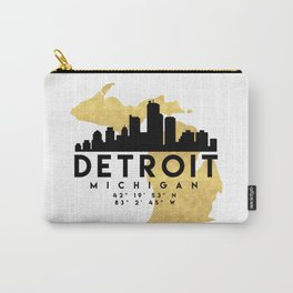 DETROIT MICHIGAN SILHOUETTE SKYLINE MAP ART Carry-All Pouch