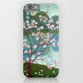 Springtime Pink Magnolias by the Kettle Pond landscape by Wilhelm List iPhone Case
