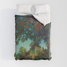 House Under Red Oaks landscape painting, circa 1925 by Maxfield Parrish Duvet Cover
