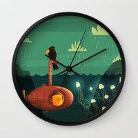 submarine Wall Clocks featuring Submarine by Ilias Sounas