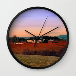 Countryside panorama in beautiful sunset colors | landscape photography Wall Clock