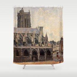 """Camille Pissarro """"L'Église Saint-Jacques à Dieppe, soleil, matin"""" Shower Curtain"""