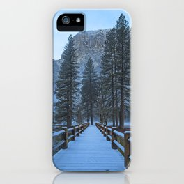 Swinging Bridge (also known as Sentinel Bridge) is covered in a fresh dusting of Spring snow iPhone Case