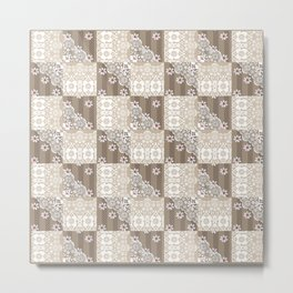 Retro Patchwork Quilting Metal Print