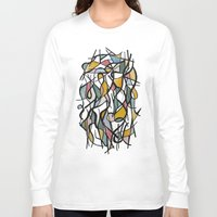 kandinsky Long Sleeve T-shirts featuring Geometric Abstract Watercolor Ink by Ashley Grebe