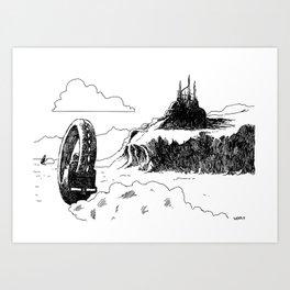 A Chase on Mars Art Print