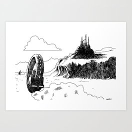 A Chase on Mars Art Print