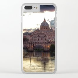 Incredible Sky with Sunset over St Peter, Vatican Rome Clear iPhone Case