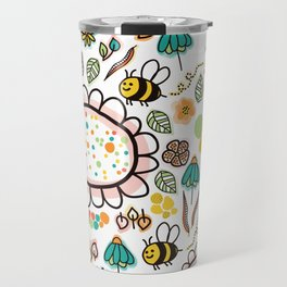 Busy Doodle Bees and Flowers Pattern Travel Mug