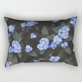 Blue Dark Floral Garden: Forget-me-nots Rectangular Pillow