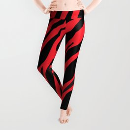 Bright Red And Black Zebra Stripes Leggings