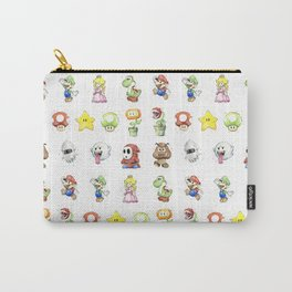 Mario Characters Watercolor Geek Gaming Videogame Carry-All Pouch