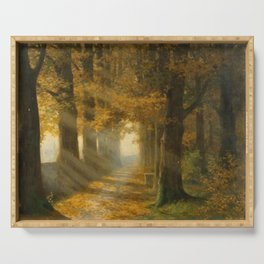 Early Morning Light, Autumn landscape painting by Max Ernst Pietschmann Serving Tray