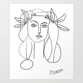 Picasso lady  Modern Sketch Picasso Art Modern Minimalist Art Print