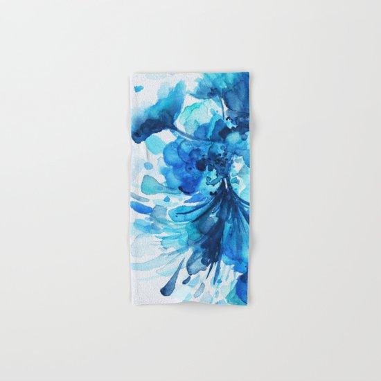 Blue Watercolor Floral Hand & Bath Towel