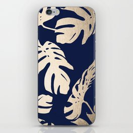 Simply Palm Leaves in White Gold Sands on Nautical Navy iPhone Skin