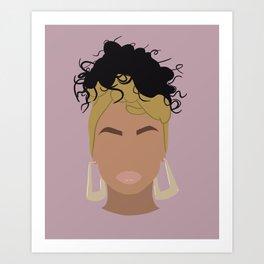 Top Knot Girl Art Print