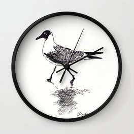 Black and White Seagull Wall Clock