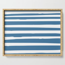 Ocean Stripes, Nautical Blue and White Serving Tray