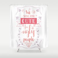 lettering Shower Curtains featuring Lettering - Juno by aysenur