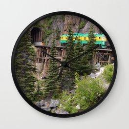 Train entering tunnel in Alaskan mountain Wall Clock