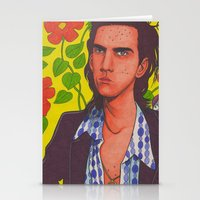 nick cave Stationery Cards featuring Spotty Nick by Anna Gogoleva