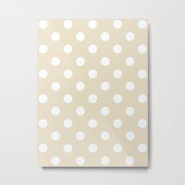 Polka Dots - White on Pearl Brown Metal Print