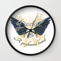 destiel Wall Clocks featuring A Profound Bond - Dark wings by brightfallenstars