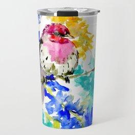 House Finch and Wildflowers Travel Mug
