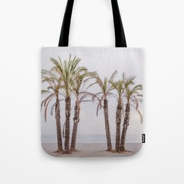Palms. Sunset at the beach Tote Bag