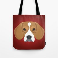 beagle Tote Bags featuring Beagle by Three Black Dots