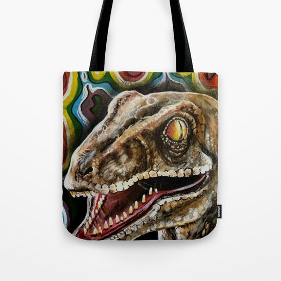 Rainbow Raptor:: Colorful Dinosaur Tote Bag