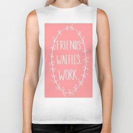 """""""Friends, Waffles, Work."""" Biker Tank"""